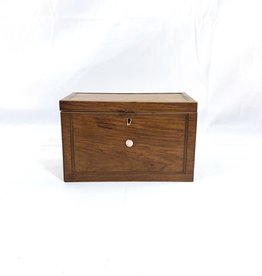 Vintage Oak Box - Wood Inlay/ Mother of Pearl Detail