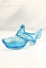 Vintage Blue Vaseline Glass Covered Dish
