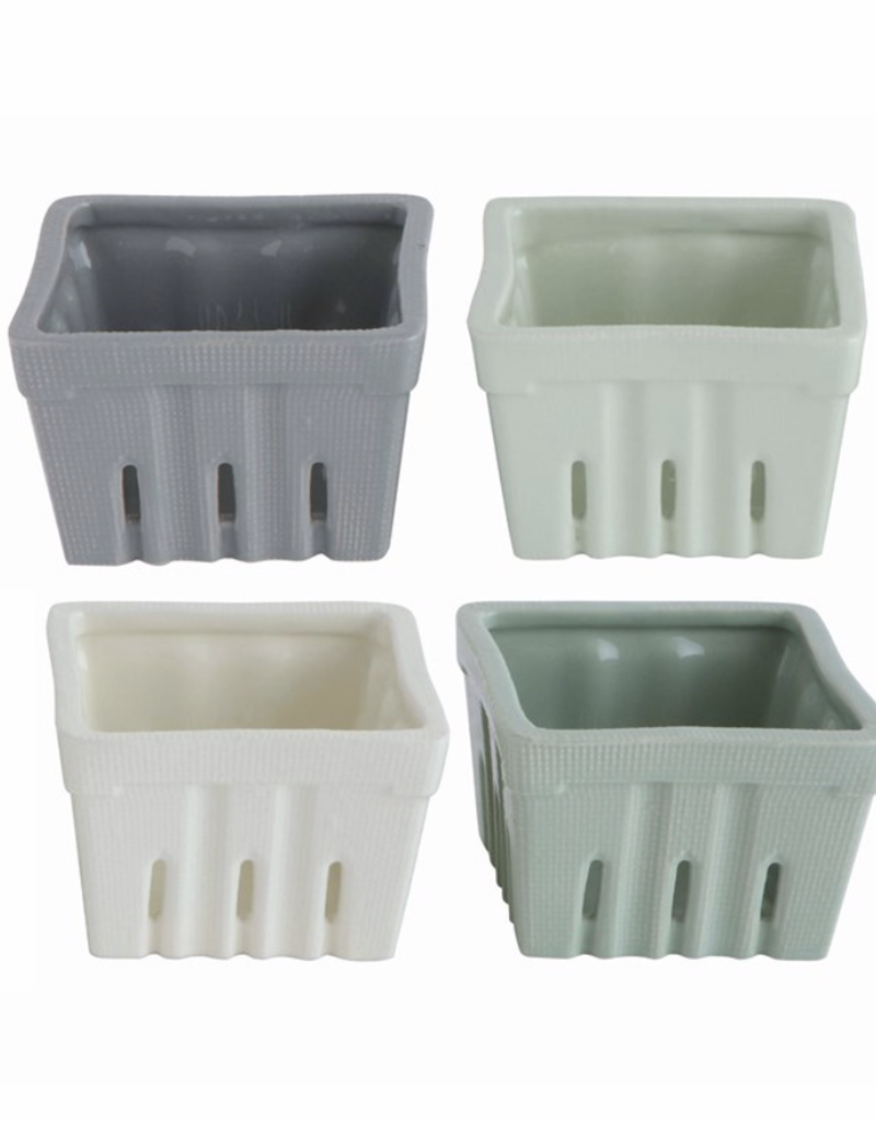 "Square Stoneware Berry Basket - 4"""