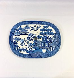 English Oval Strainer in Willow Pattern