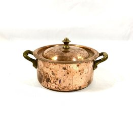 Vintage Small Antique Copper Pot with Lid