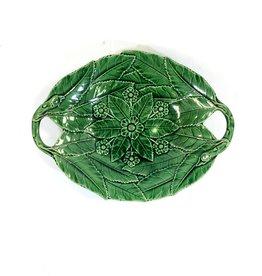 Majolica Green Majolica Platter w/ Flower Center