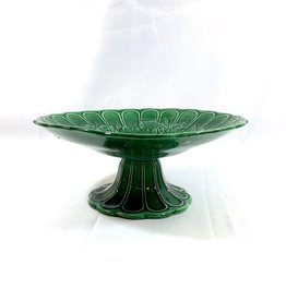 Vintage English Green Majolica Pedestal - Oak Leaf Motif