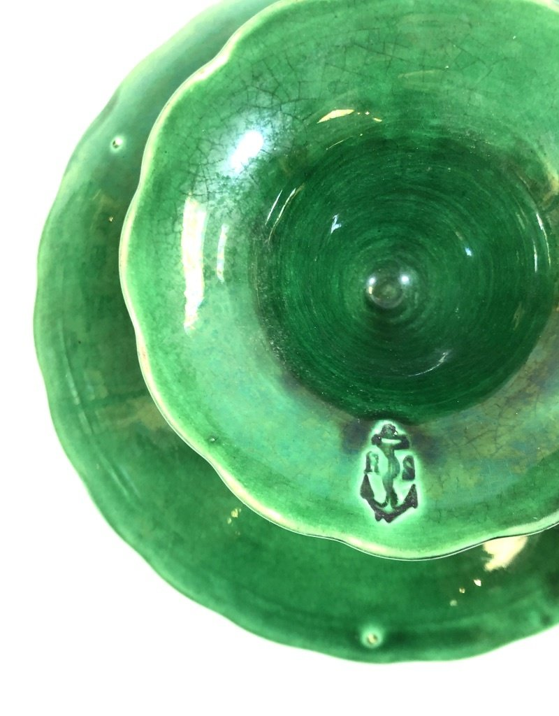 Vintage English Green Majolica Pedestal - Oak Leaf Motif