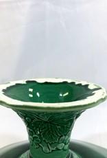 Vintage English Green Majolica Pedestal - Strawberry & Grape Leaf Motif