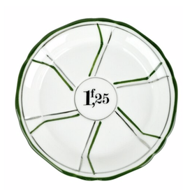 Porcelain Absinthe Coaster or Saucer - Green & Silver