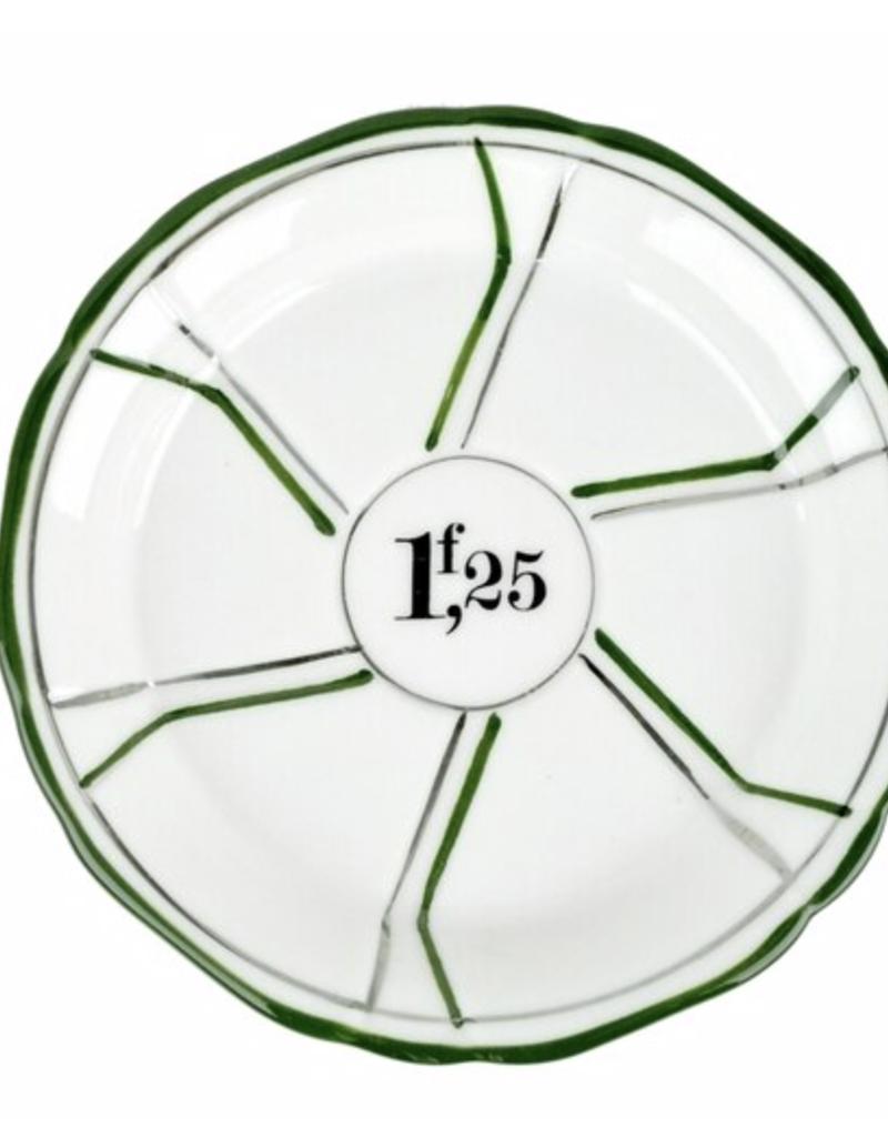 Porcelain Absinthe Coaster or Saucer - Green & Silver