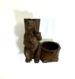 Vintage Black Forest Carved Bear Pipe Holder