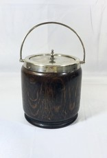 Vintage English Biscuit Barrel w/  Silver Shield and Lid