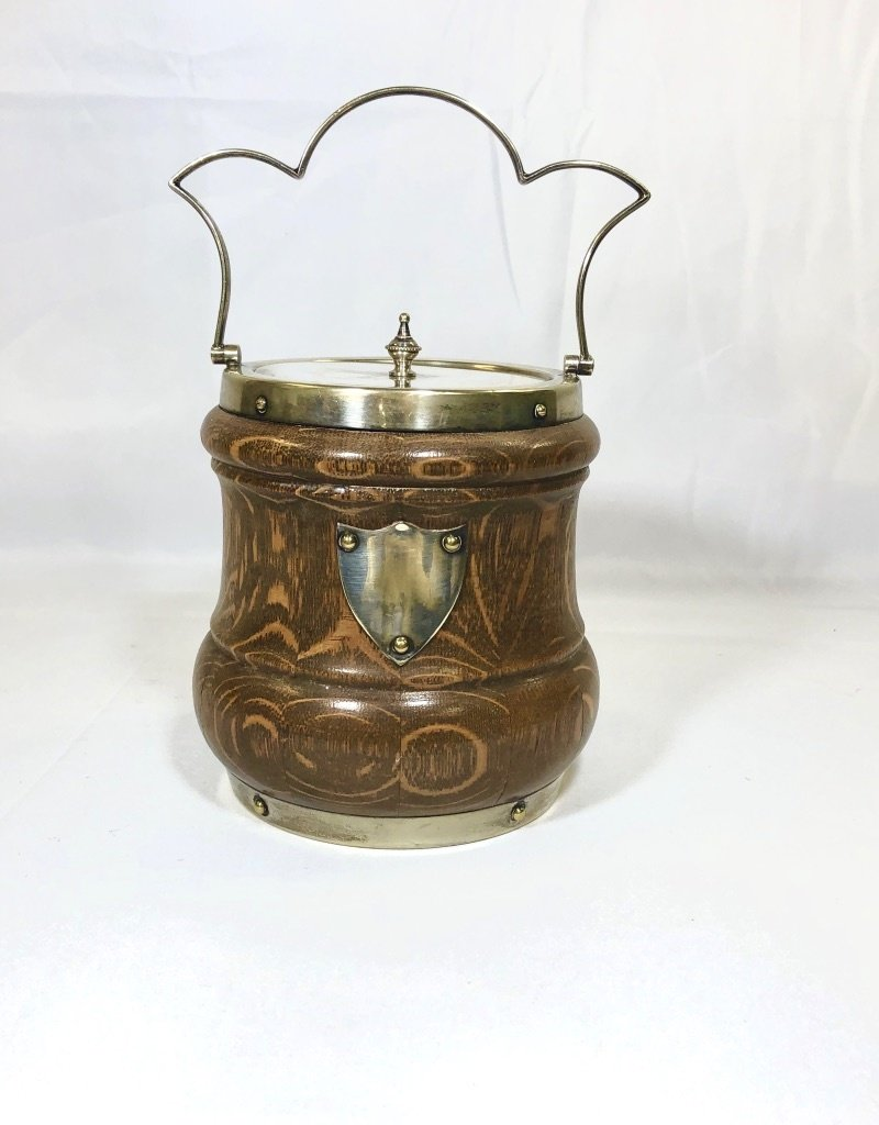 Vintage English Biscuit Barrel w/ Silver Shield / Scalloped Handle