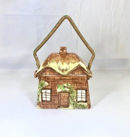 Vintage Biscuit Basket Cottage w/ Woven Handle
