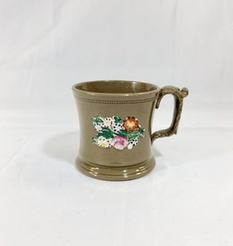 Vintage Petite Brown Ceramic Mug w/ Flowers