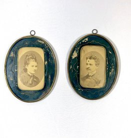 Vintage Antique Petite Framed Pair of Man & Woman