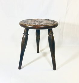 Vintage Petite Carved Floral Wooden Stool