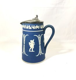 Blue Pitcher with Pewter Lid