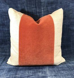 "James & Reid Wide Band Pillow 20"" x 20"" Winthrop Tangelo & Palmer Linen"
