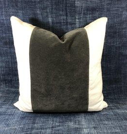 "James & Reid Wide Band Pillow 20"" x 20"" Winthrop Flint Palmer White"