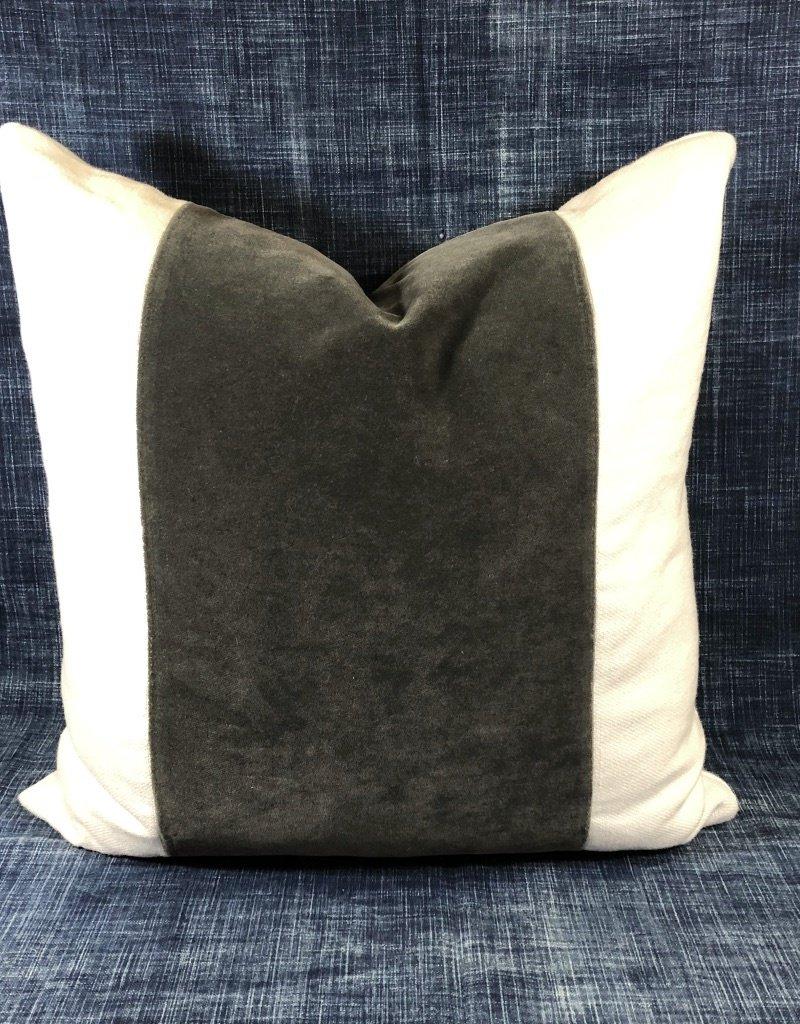 """James & Reid Wide Band Pillow 20"""" x 20"""" Winthrop Flint Palmer White"""