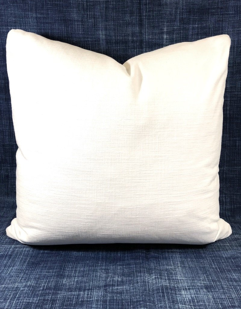 "James & Reid 20"" x 20"" Pillow Burbank Ivory w/ Khaki Tape"