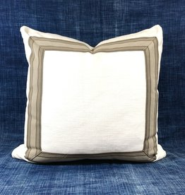 "James & Reid Pillow 20"" x 20"" Burbank Ivory Cassidy Khaki Tape Detail"