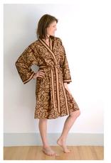 Short Cotton Kimono Robe in Rust Leaves