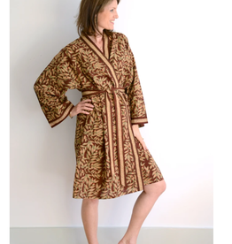 Short Cotton Kimono Robe in Rust Leaves