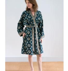 Short Cotton Kimono Robe in Dark Lace