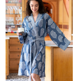 Short Cotton Kimono Robe in Marine Paisley