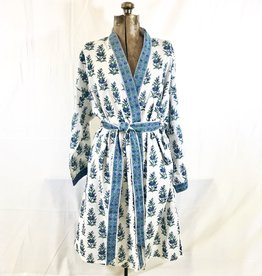 Short Cotton Kimono Robe in Blue Floral on White