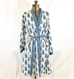 Short Cotton Kimono Robe in Blue Floral on White