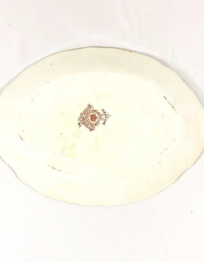 "Vintage White, Orange & Blue Antique Meat Dish 10"" x 7"""