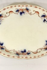 "Vintage White, Orange& Blue Antique Meat Plate, 16"" x 11.5"""
