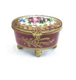 Vintage Petite Hand-Painted Pink Limoges Box