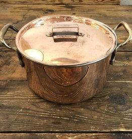 Vintage Vintage Medium Copper Lidded Pot with Brass Handles