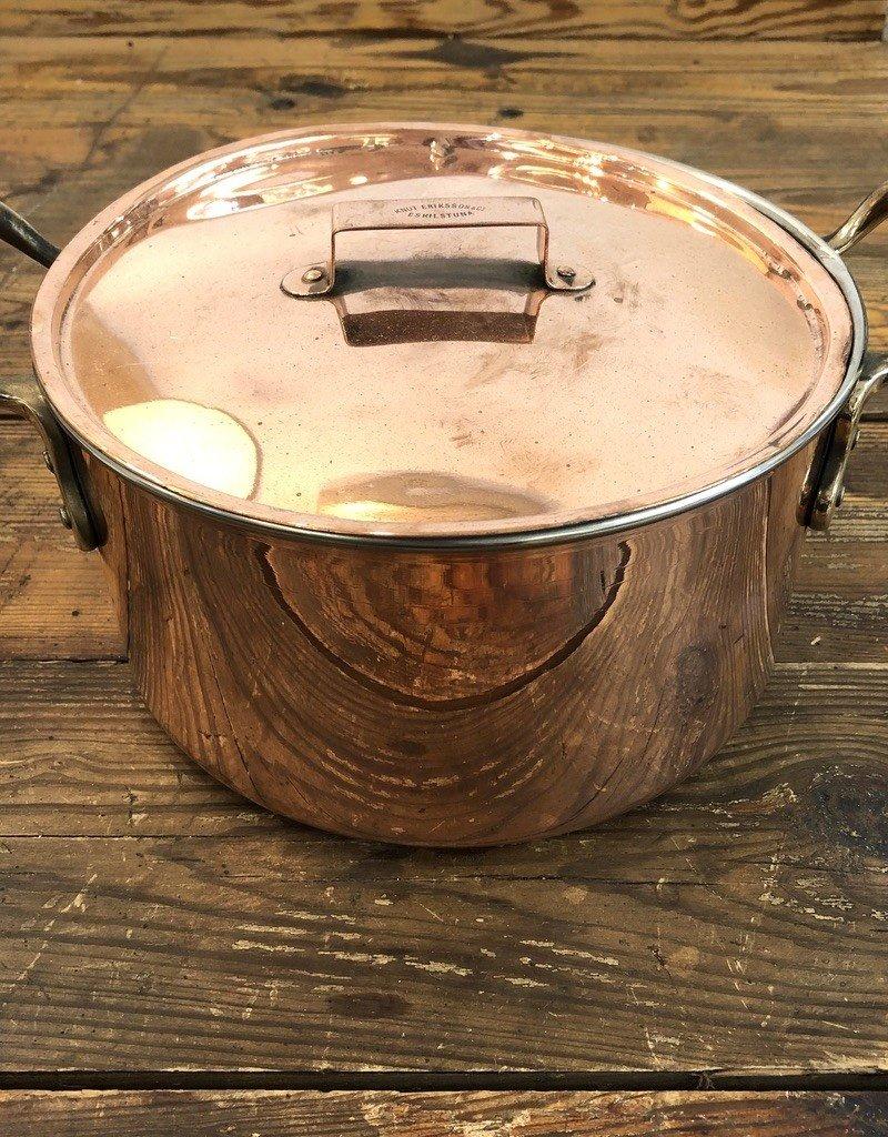 Vintage Vintage Medium Copper Lidded Pot with  Brass Handles
