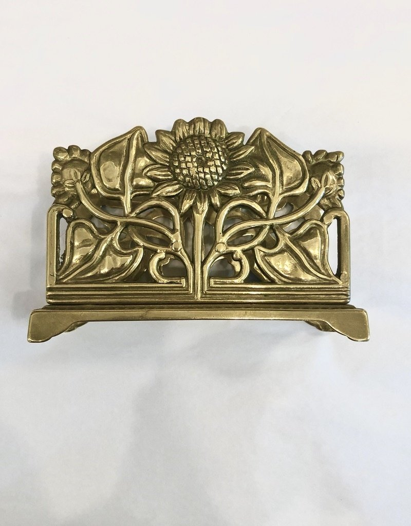 Vintage Brass Sunflower Design Napkin/Letter Holder