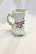 Vintage Small White and Red Floral Transferware Pitcher