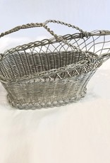Vintage Silver Plated Wine Holder with Braided Handle