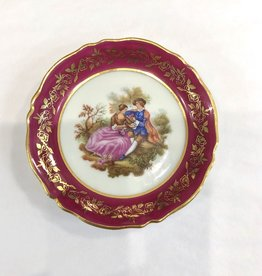 Vintage Petite Pink Limoges Plate w/ Lovers Scene