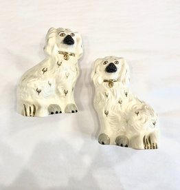 Vintage Pair of White Staffordshire Royal Daulton Spaniels