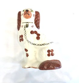 Vintage Staffordshire Dog Figurine/ Brown & White