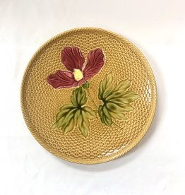 Vintage Golden Majolica Plate with Pink Flower