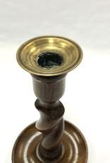 Vintage Small Barley Twist Candlestick w/ Brass Cup