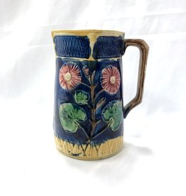 Vintage Blue Majolica Pitcher w/ Pink & Green Flowers and Yellow Trim