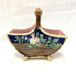 Vintage Blue and Brown Majolica Basket w/ Pink/Green Flowers and Yellow Trim