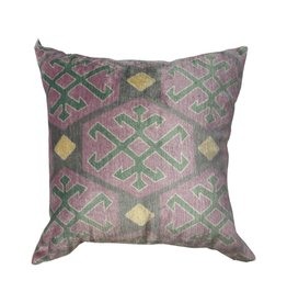 Vintage Pink & Green Turkish Silk Pillow 18 x 18