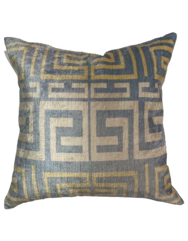 Vintage Light Blue & Yellow Turkish Silk Pillow 18x 18