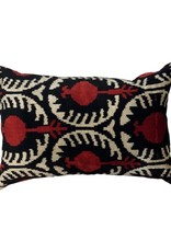 Red & Black Turkish Silk Pillow 14 x 18