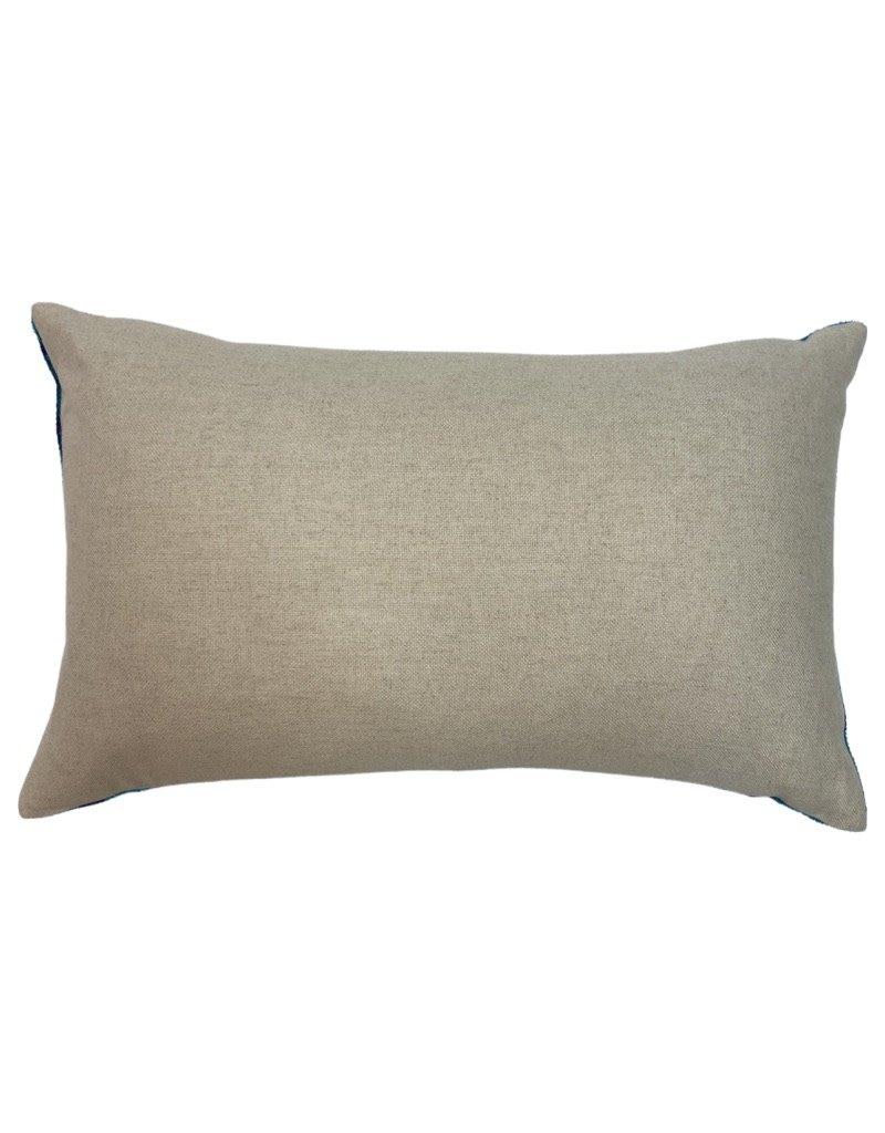 Light Oragne & Grey Turkish Silk Pillow 14 x 18