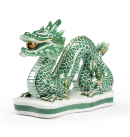 Chelsea House Green Porcelain Dragon - Glazed Green/Ivory